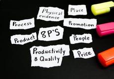 Hand het schrijven 8p strategie op papier stock afbeeldingen