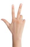 Hand het tellen - drie vingers Royalty-vrije Stock Afbeeldingen