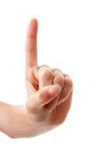 Hand het tellen met open wijsvinger nummer 1 Stock Foto