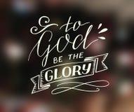 Hand het van letters voorzien aan God is de glorie vector illustratie