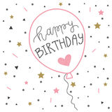 Hand het van letters voorzien de kaartimpuls van de verjaardagsgroet Hipsteraffiche Stock Afbeeldingen