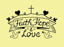 Hand het van letters voorzien Geloof, hoop en liefde met kruis en harten vector illustratie