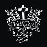 Hand het van letters voorzien Geloof, hoop en liefde op zwarte achtergrond royalty-vrije illustratie
