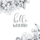 Hand het van letters voorzien uitdrukking op bloemenrug Stock Afbeelding