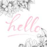 Hand het van letters voorzien uitdrukking op bloemenrug Stock Foto