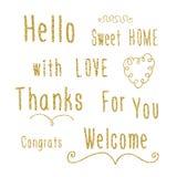 Hand het van letters voorzien woorden - Hello, zoet huis, met liefde, dankt, voor u, congrats, schittert het onthaal met gouden e Royalty-vrije Stock Fotografie
