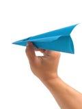 In hand het vliegtuig van de origami Stock Fotografie