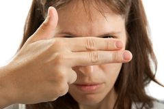 Hand hiding face Stock Image