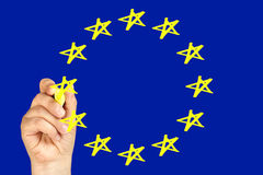 Hand Highlighter Drawing Flag European Union Stock Photo