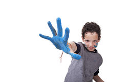 Hand hint of blue, with the kid blurred Stock Images