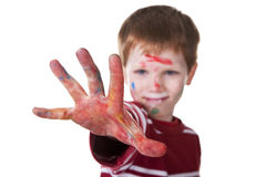Hand hint of red, with the kid blurred Royalty Free Stock Image