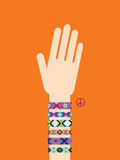 Hand with hippy friendship bracelets Royalty Free Stock Photo