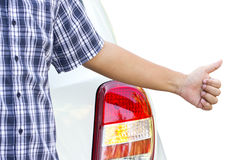 Hand Hitchhiking Of Asian Man. Royalty Free Stock Photography