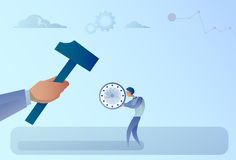 Hand Hitting Businessman Holding Clock With Hammer. Flat Vector Illustration Royalty Free Stock Image