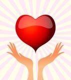 hand hjärtaholdingen royaltyfri illustrationer