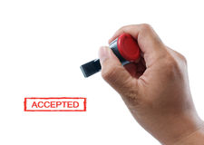 Hand hold accepted rubber stamp Stock Photo