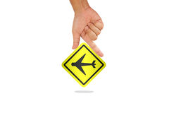 Hand hold airplane sign Stock Photography