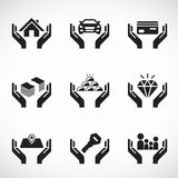 Hand hold asset and insurance icon business vector set design Stock Image