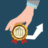 Hand hold bank arrow economic financial badge Royalty Free Stock Image