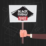 Hand Hold Banner With Black Friday Sale Text Special Offer Discount Poster Concept. Flat Vector Illustration Royalty Free Stock Photography