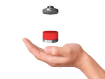 Hand hold Battery icon with a low charge Stock Image