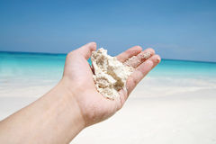 Hand hold beach sand Royalty Free Stock Photo