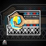 Hand hold beach volleyball ball above net. Vector sport logo for any team royalty free illustration