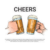Hand Hold Beer Glass Mug Cheers Oktoberfest Festival Banner Sketch. Vector Illustration Stock Photography