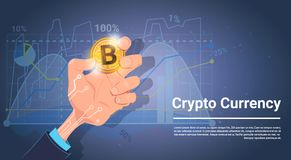 Hand Hold Bitcoin Over Charts And Graphs Background Digital Crypto Currency Concept. Vector Illustration Royalty Free Stock Photography