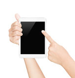 Hand hold black tablet screen isolated white with clipping path Stock Photos