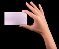 Hand hold blank business card Stock Images