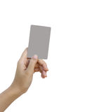 Hand hold blank business card and credit card Stock Photo