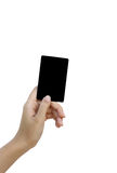 Hand hold blank business card and credit card Stock Photos