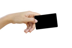 Hand hold blank business card and credit card Royalty Free Stock Photo
