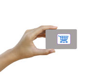 Hand hold blank business card or credit card Stock Photo