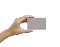 Hand hold blank business card or credit card Royalty Free Stock Photo