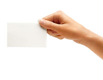 Hand hold blank business card Stock Photo