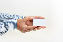 Hand hold blank business card Stock Photography