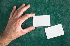 Hand hold blank business card with rounded corners Royalty Free Stock Photo