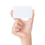 Hand hold blank card isolated with clipping path Royalty Free Stock Image