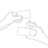 Hand hold a blank card outline contour Royalty Free Stock Image