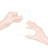 Hand hold a blank card Stock Photos