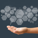Hand hold blank icon on touch screen interface Stock Images