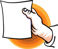 A hand hold a blank sheet. Clip art image Royalty Free Stock Photos