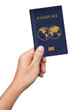 Hand hold blue Passport isolated on white Royalty Free Stock Photos