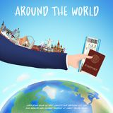 Hand hold boarding pass passport and world landmark royalty free illustration