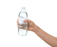 Hand hold bottle of drinking water Royalty Free Stock Photos