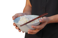 Hand hold bowl of rice Stock Photo