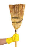Hand hold broom Royalty Free Stock Image