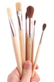Hand hold brush. On isolated background. painter Royalty Free Stock Images